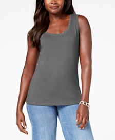 Karen Scott Petite Cotton Studded Tank, Created for Macy's