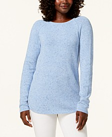 Petite Long-Sleeve Curved Hem Sweater, Created for Macy's