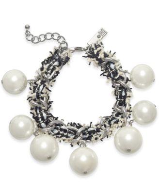I.N.C. Silver-Tone Imitation Pearl Fabric-Weaved Flex Bracelet, Created for Macy's
