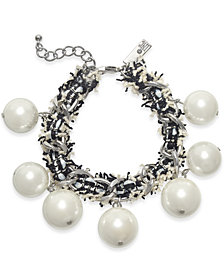 I.N.C. Silver-Tone Imitation Pearl Fabric-Weaved Flex Bracelet, Created for Macy's