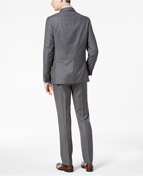 Calvin Klein Men S Slim Fit Stretch Gray Sharkskin Suit Separates Suits Tuxedos Macy