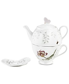 "Lenox ""Butterfly Meadow"" Stackable Tea Set with Bag Holder"