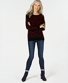 Charter Club Pure Cashmere Graphic Boatneck Sweater in Regular & Petites Sizes, Created for Macy's