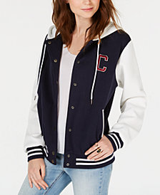 Say What? Juniors' Letterman Knit Hoodie Jacket
