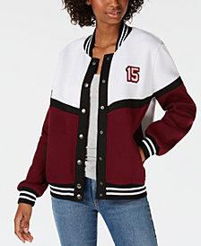 Say What? Juniors' Letterman Snap Jacket