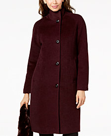 Jones New York Petite Faux-Fur-Scarf Walker Coat