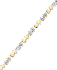 Diamond Accent Two-Tone Cat Link Bracelet in Sterling Silver-Plate & 18k Gold over Silver-Plate