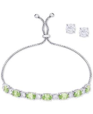 Imitation Pearl Slider Bracelet & Cubic Zirconia Stud Earrings Set In Silver-Plate, June Birthstone