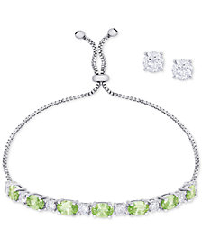Simulated Peridot Slider Bracelet & Cubic Zirconia Stud Earrings Set In Fine Silver-Plate, August Birthstone