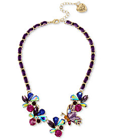 "Betsey Johnson Gold-Tone Multi-Stone Butterfly & Ribbon Statement Necklace, 16"" + 3"" extender"