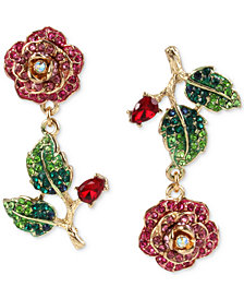 Betsey Johnson Gold-Tone Multicolor Crystal Rose Mismatch Drop Earrings