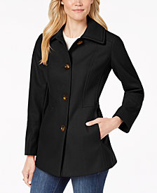 London Fog Petite Wing-Collar Peacoat
