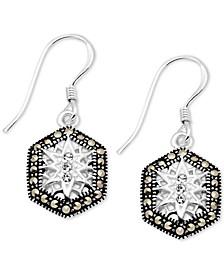 Crystal & Marcasite Hexagon Drop Earrings in Fine Silver-Plate