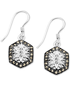 Crystal & Marcasite Hexagon Drop Earrings in Fine Silver-Plate