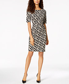 Connected Petite Geo-Print Bodycon Dress