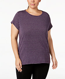 Ideology Plus Size Striped Cutout-Back T-Shirt, Created for Macy's