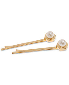 France Luxe 2-Pc. Set Hexagon & Imitation Pearl Bobby Pins