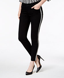 I.N.C. Petite Racing-Stripe Skinny Jeans, Created for Macy's