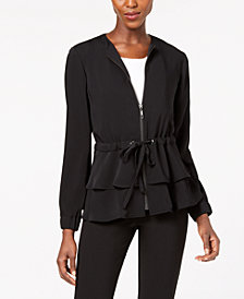 Nine West Tiered Zip-Front Jacket