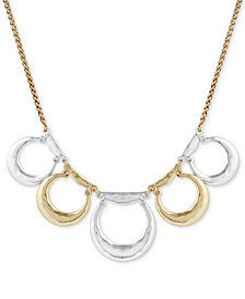 "Lucky Brand Two-Tone Circle Drop Collar Necklace, 17"" + 2"" extender"