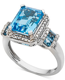 Blue Topaz (4-1/3 ct. t.w.) & Diamond (1/4 ct. t.w.) in 14k White Gold