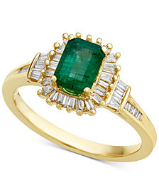 Emerald (3/4 ct. t.w.) & Diamond (1/3 ct. t.w.) Ring in 14k Gold
