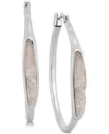 Lucky Brand Silver-Tone Druzy Stone Hoop Earrings