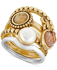 Lucky Brand Two-Tone 4-Pc. Set Druzy Stone & Imitation Pearl Stack Rings