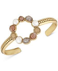 Lucky Brand Gold-Tone Druzy Stone & Imitation Pearl Circle Cuff Bracelet