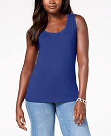 Karen Scott Cotton Studded Tank Top, Created for Macy's