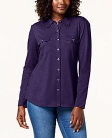 Karen Scott Long-Sleeve Shirt, Created for Macy's