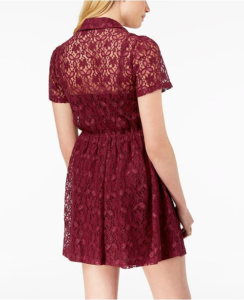 Juniors' Wine Lace Bop Shirtdress Be 06vTqT