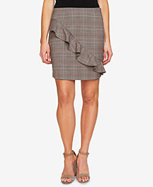 CeCe Ruffled Glen-Plaid Skirt