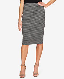 CeCe Checked Pull-On Pencil Skirt