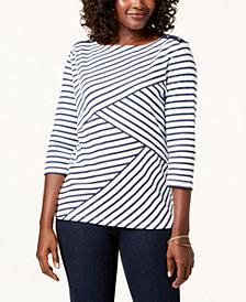 Karen Scott Striped Top, Created for Macy's