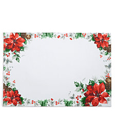 "Bardwil Christmas Poinsettia Watercolor 13"" x 70"" Placemat"