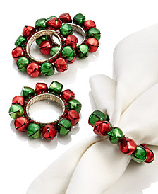 Leila's Linens Christmas Bells 4-Pc. Napkin Ring Set