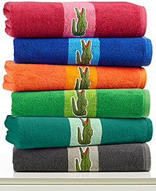 CLOSEOUT! Lacoste Signature Logo Bath Towel, 100% Terry Cotton