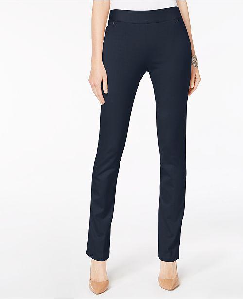 INC International Concepts INC Curvy Pull-On Straight-Leg Pants, Created for Macy's