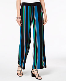 I.N.C. Petite Striped Wide-Leg Woven Pants, Created for Macy's