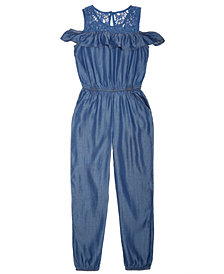 Epic Threads Big Girls Cold Shoulder Lace Chambray Jumpsuit, Created for Macy's