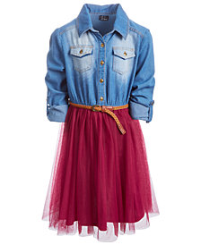 Pink & Violet Big Girls Denim-Bodice Tutu Dress