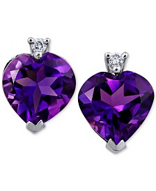 Amethyst (3 ct. t.w.) & Diamond Accent Heart Stud Earrings in 14k White Gold