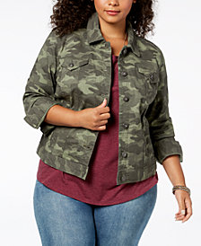 Style & Co Plus Size Cotton Camo Demin Jacket, Created for Macy's