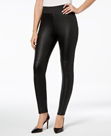 I.N.C. Shaping Pebble-Texture Faux-Leather Smoothing Leggings, Created for Macy's