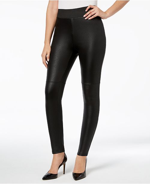 INC International Concepts I.N.C. Shaping Pebble-Texture Faux-Leather Smoothing Leggings, Created for Macy's