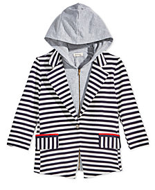 Monteau Big Girls 2-Pc. Striped Blazer & Detachable Hoodie Set