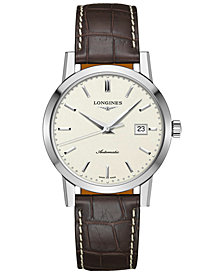 Longines Men's Swiss Automatic Heritage 1832 Brown Alligator Leather Strap Watch 40mm