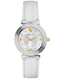 Versace Women's Swiss Daphnis White Leather Strap Watch 35mm