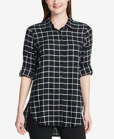 Calvin Klein Windowpane High-Low Shirt